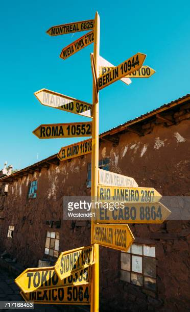 peru, titicaca lake, taquile island, signpost with capital cities and distances - capital cities bildbanksfoton och bilder