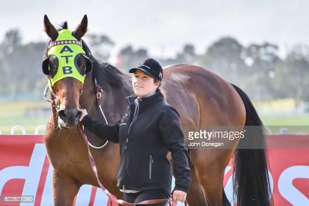 Peruggia after winning the Chandler Macleod Handicap at Ladbrokes Park Hillside Racecourse on July 26 2017 in Springvale Australia