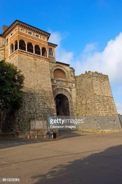 Perugia Etruscan arch Umbria Italy