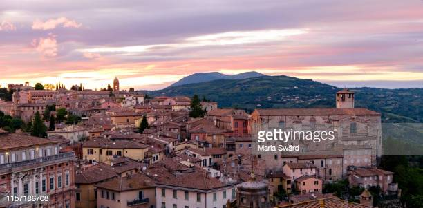 perugia - panoramic view of old town at sunset - umbria stock pictures, royalty-free photos & images