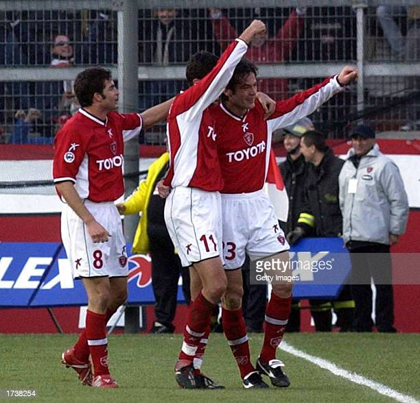 Perugia players celebrate scoring during the Serie A match between Perugia and Inter Milan, played at the Renato Curi Stadium, Perugia,Italy on...