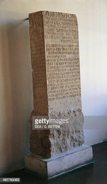 Perugia stone travertine slab with an inscription in Etruscan characters 3rd2nd century BC Perugia Umbria Italy Perugia Museo Archeologico Nazionale...