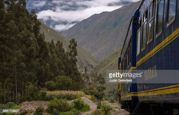 PeruRail train that runs between Cusco and Machu Picchu travels through ollantaytambo to Aguas Calientes on January 17 2014 in Ollantaytambo Peru The...