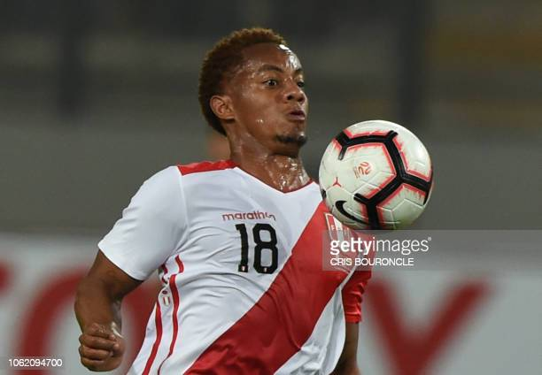 Peru's Andre Carrillo controls the ball during a friendly football match against Ecuador at the National Stadium in Lima on November 15 2018