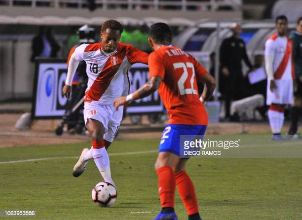 Peru's Andre Carrillo controls the ball during the friendly football match against Costa Rica at the UNSA's stadium in the Andean city of Arequipa...