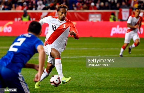 Peru's Andre Carrillo runs with the ball during the international football friendly match between Peru and Paraguay at Red Bull Arena in New York...