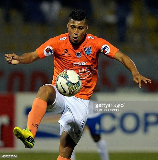 Perus Cesar Vallejo footballer Daniel Chavez dvances with the ball during their Copa Sudamericana football game against Brazils Esporte Clube Bahia...