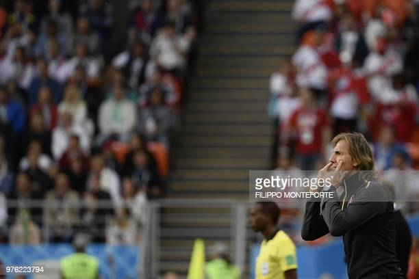 Peru's coach Ricardo Gareca gestures and reacts during the Russia 2018 World Cup Group C football match between Peru and Denmark at the Mordovia...