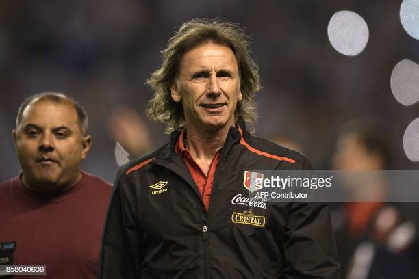 Peru's coach Ricardo Gareca is pictured before the start of the 2018 World Cup qualifier football match against Argentina in Buenos Aires on October...