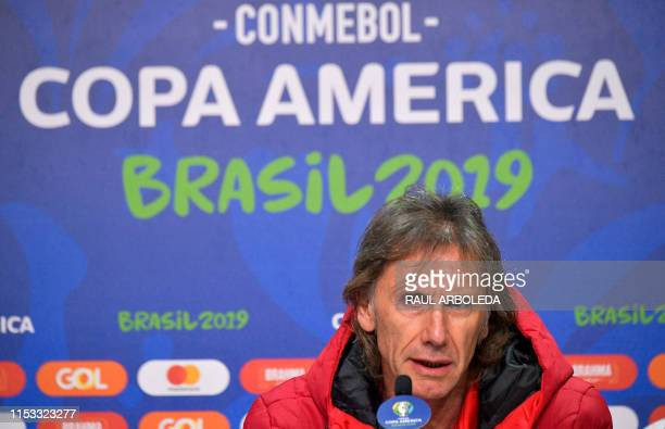 Peru's coach Ricardo Gareca speaks during a press conference in Porto Alegre Brazil on July 2 on the eve of their Copa America semifinal match...