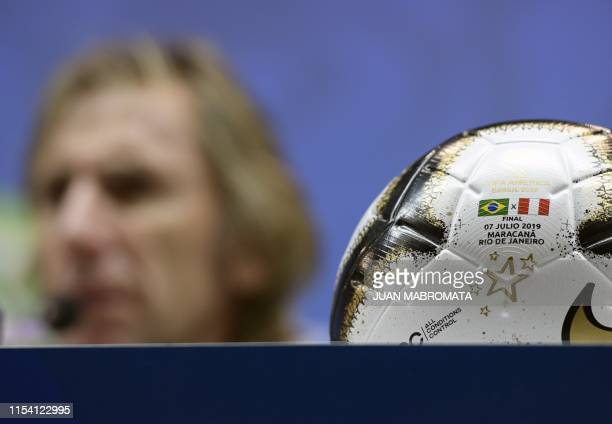 Peru's coach Ricardo Gareca speaks during the official presser at Maracana stadium in Rio de Janeiro Brazil on July 6 2019 on the eve of the Copa...