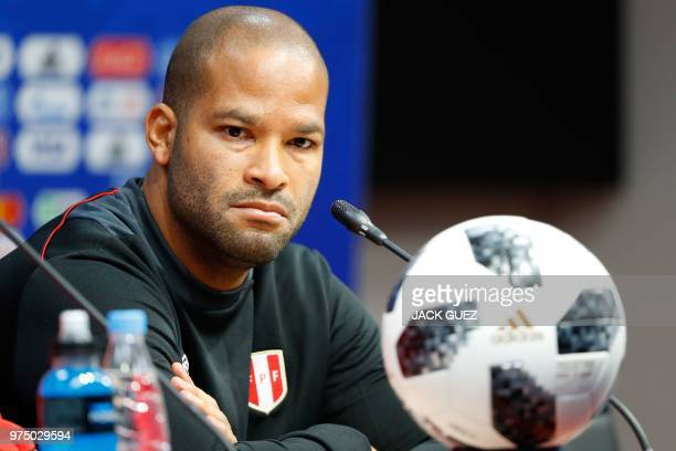 Peru's defender Alberto Rodriguez attends a press conference at the Mordovia Arena in Saransk on June 15 a day ahead of their Russia World Cup 2018...