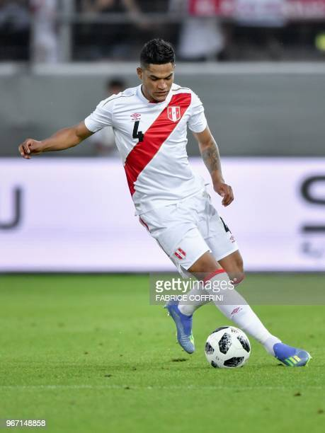 Peru's defender Anderson Santamaria controls the ball during an international friendly football match between Saudi Arabia and Peru at Kybunpark...