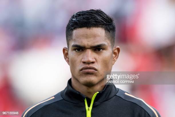 Peru's defender Anderson Santamaria looks on prior to an international friendly football match between Saudi Arabia and Peru at Kybunpark stadium in...