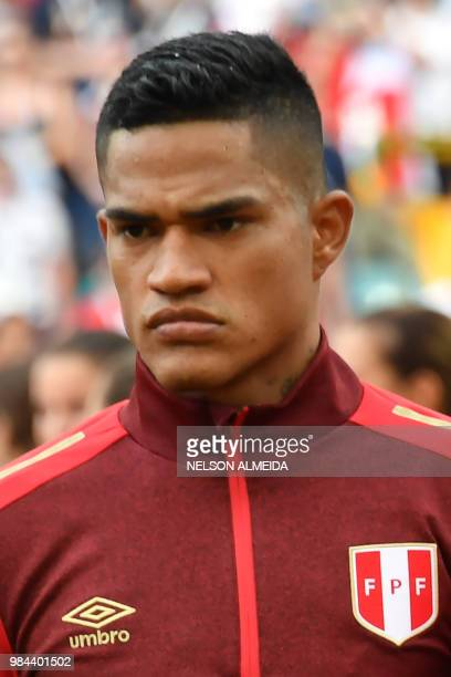 Peru's defender Anderson Santamaria poses prior to the Russia 2018 World Cup Group C football match between Australia and Peru at the Fisht Stadium...