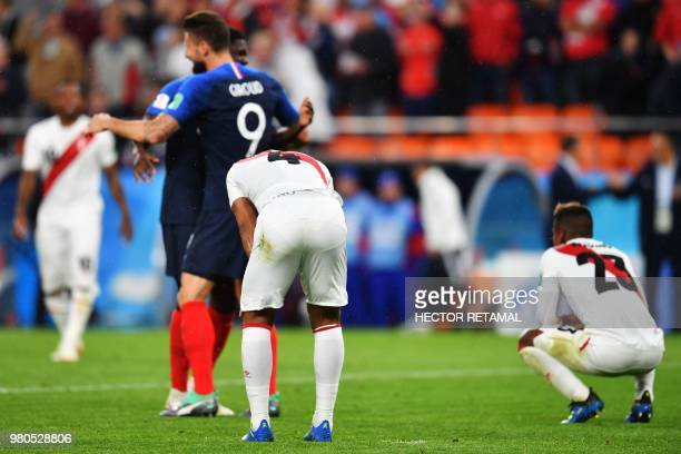 Peru's defender Anderson Santamaria reacts after defeat in the Russia 2018 World Cup Group C football match between France and Peru at the...