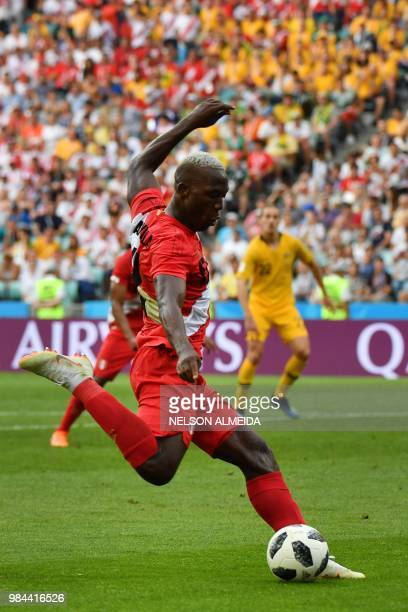 Peru's defender Luis Advincula kicks the ball during the Russia 2018 World Cup Group C football match between Australia and Peru at the Fisht Stadium...