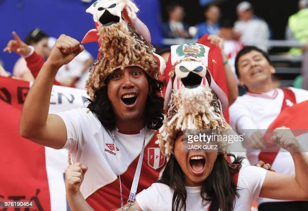Peru's fans cheer prior to the Russia 2018 World Cup Group C football match between Peru and Denmark at the Mordovia Arena in Saransk on June 16 2018...
