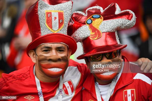 Peru's fans cheer prior to the Russia 2018 World Cup Group C football match between France and Peru at the Ekaterinburg Arena in Ekaterinburg on June...