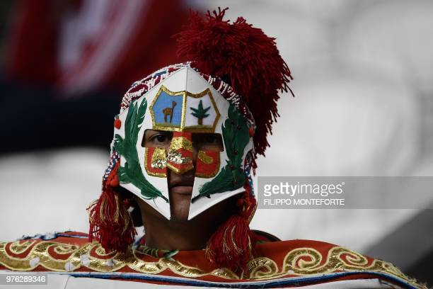 Peru's fans reacts at the end of the Russia 2018 World Cup Group C football match between Peru and Denmark at the Mordovia Arena in Saransk on June...