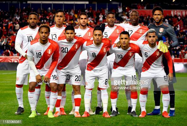 Peru's football team pose for a group picture during the international friendly match between Peru and Paraguay at Red Bull Arena in New Jersey on...