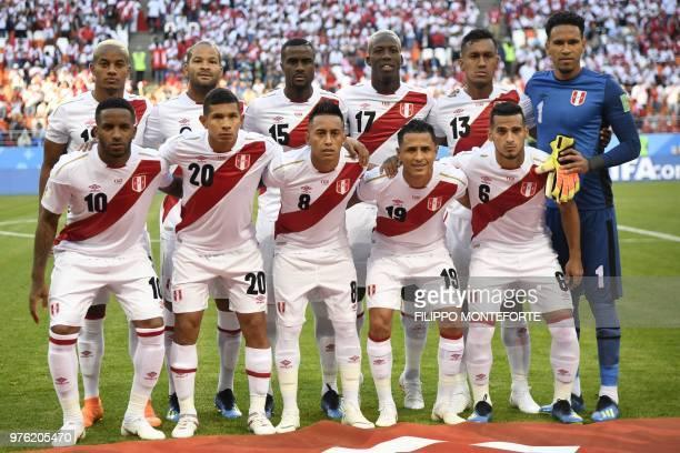 Peru's forward Jefferson Farfan, Peru's midfielder Edison Flores, Peru's midfielder Christian Cueva, Peru's midfielder Yoshimar Yotun, Peru's...