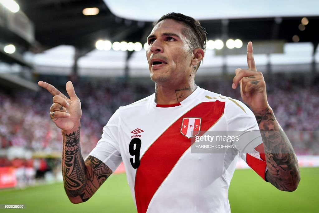 Peru's forward Paolo Guerrero celebrates after scoring a goal during an international friendly football match between Saudi Arabia and Peru at Kybunpark stadium in St. Gallen on June 3, 2018.