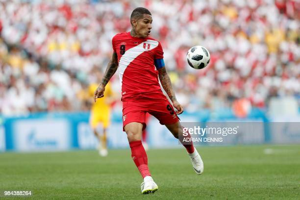 Peru's forward Paolo Guerrero controls the ball during the Russia 2018 World Cup Group C football match between Australia and Peru at the Fisht...