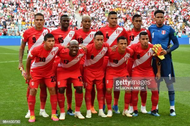 Peru's forward Paolo Guerrero Peru's defender Christian Ramos Peru's forward Andre Carrillo Peru's defender Anderson Santamaria Peru's midfielder...