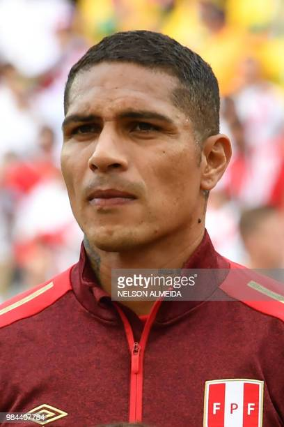 Peru's forward Paolo Guerrero poses prior to the Russia 2018 World Cup Group C football match between Australia and Peru at the Fisht Stadium in...