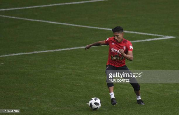 Peru's forward Raul Ruidiaz attends a training session at the Arena Khimki stadium outside Moscow on June 11 ahead of the Russia 2018 World Cup