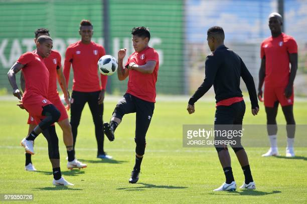 Peru's forward Raul Ruidiaz controls the ball during a training session at Ermak stadium in Ekaterinburg on June 20 2018 on the eve of the FIFA 2018...