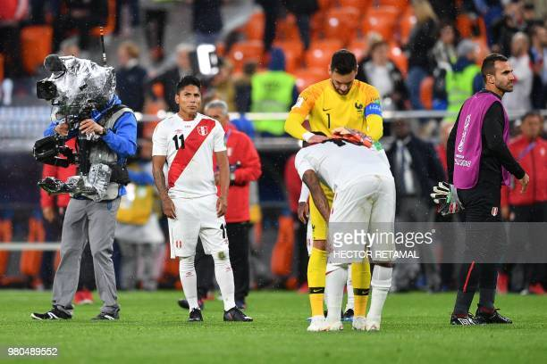 Peru's forward Raul Ruidiaz reacts after defeat during the Russia 2018 World Cup Group C football match between France and Peru at the Ekaterinburg...