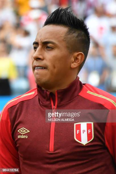 Peru's midfielder Christian Cueva poses prior to the Russia 2018 World Cup Group C football match between Australia and Peru at the Fisht Stadium in...