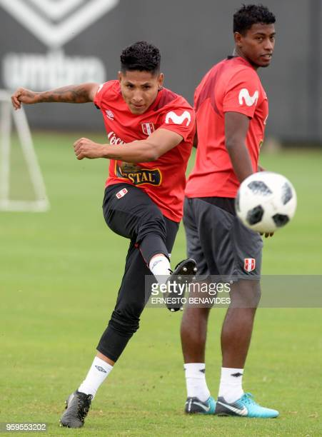 Peru's national football team player Raul Ruidiaz kicks the ball during a training session in Lima on May 17 2018 Peru will meet Scotland in a...
