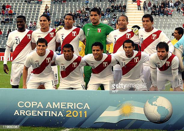 Peru's national football team pose before the thirdplace match against Venezuela of the 2011 Copa America football tournament held at the Ciudad de...