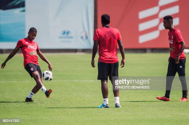 Peru's national player Andy Polo takes part in a training session in Lima on March 15 before the team's departure to the US where they will hold two...