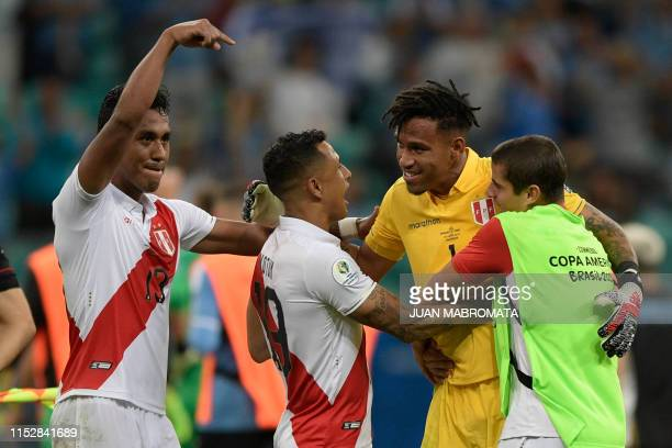 Peru's players celebrate after defeating Uruguay in the penalty shootout after tying 00 during their Copa America football tournament quarterfinal...