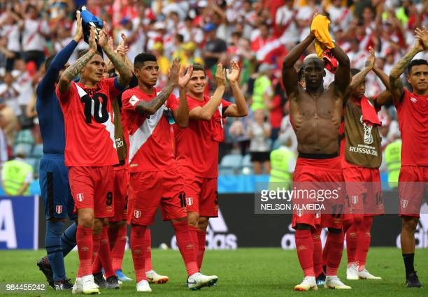 Peru's players celebrate after winning the Russia 2018 World Cup Group C football match between Australia and Peru at the Fisht Stadium in Sochi on...