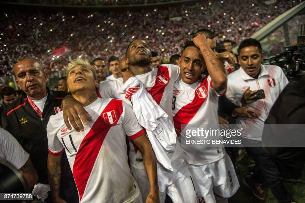 Peru's Raul Ruidiaz Jefferson Farfan and Christian Cueva celebrate after defeating New Zealand by 20 and qualifying for the 2018 football World Cup...