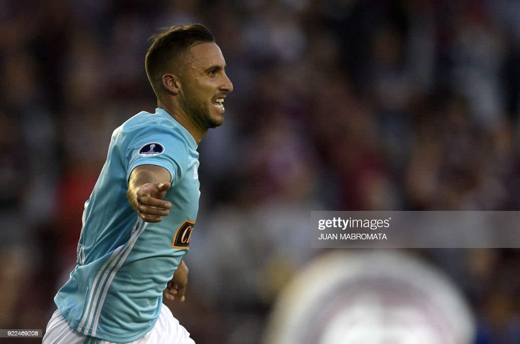 Peru's Sporting Cristal forward Emanuel Herrera celebrates after scoring a goal against Argentina's Lanus during their Copa Sudamericana 2018 first stage football match at 'La Fortaleza' stadium in Lanus, Buenos Aires, Argentina, on February 21, 2018. /