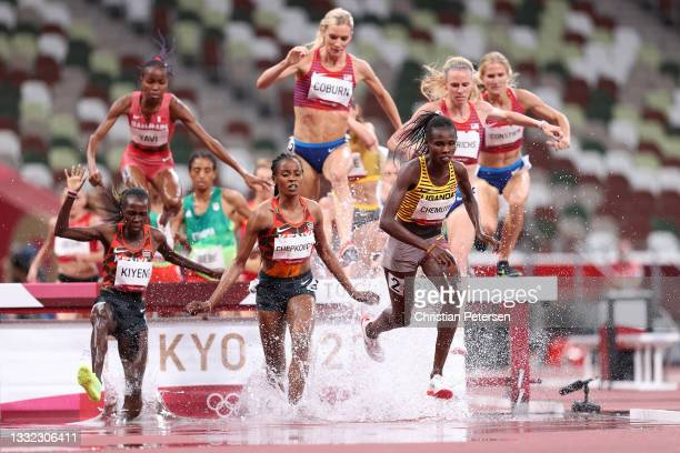 Peruth Chemutai of Team Uganda competes in the Women's 3000m Steeplechase Final on day twelve of the Tokyo 2020 Olympic Games at Olympic Stadium on...