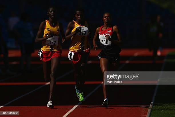 Peruth Chemutai of Uganda Janat Chemusto of Uganda and Sheila Chelangat of Kenya compete in the girls 3000m final during the athletics competition at...