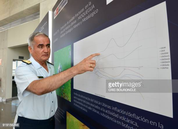 Peruvian Air Force General Carlos Caballero explains on a graph at the National Satellite Image Operation Centre in Pucusana Peru on February 16 some...