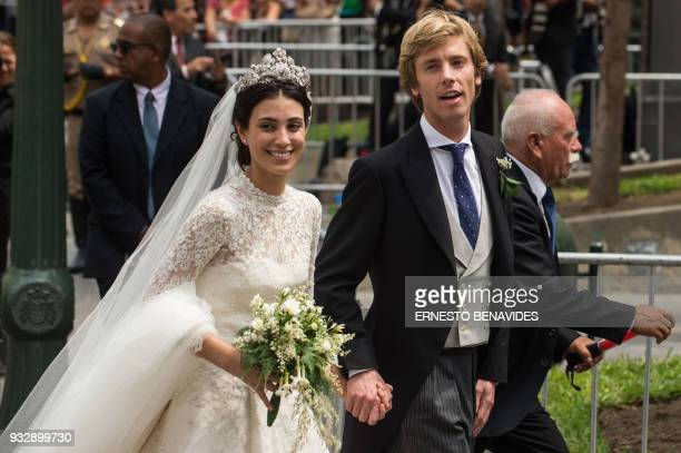 Peruvian Alessandra de Osma and her husband Prince Christian of Hanover leave San Pedro church in Lima after their wedding ceremony on March 16 2018...