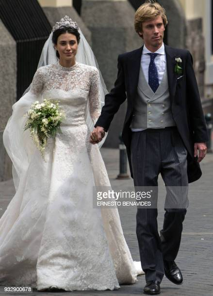 Peruvian Alessandra de Osma and her husband Prince Christian of Hanover leave San Pedro church in Lima after their wedding ceremony on March 16 2018