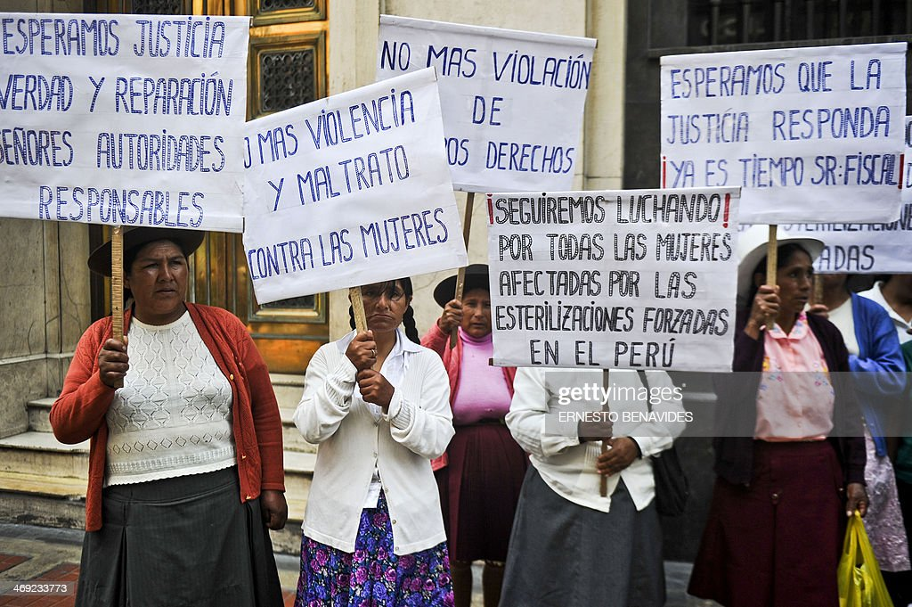 Peruvian andean women victims of forced sterilizations during the administration of Peru's former President Alberto Fujimori, protest in Lima on February 13, 2014.