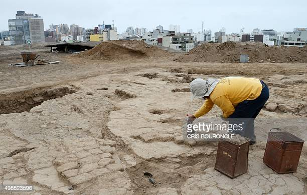 A Peruvian archaeologist works at the Huaca Pucllana in the heart of Lima on November 26 following the discovery of human remains of four adults...