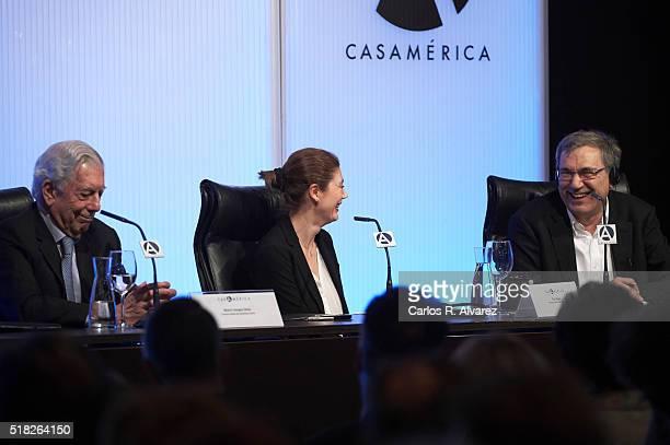 Peruvian author and Nobel Prize in Literature Mario Vargas Llosa Pilar Reyes and Turkish author and Nobel Prize in Literature Orhan Pamuk attend...