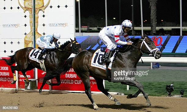 0efe29c3cbcc9 Peruvian born jockey Edgar Prado rides US based horse Benny The Bull to win  the Dubai